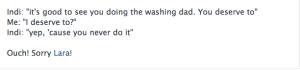 Hubby's status update the day I ran away